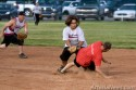 Mikey Crouch of the Daily Press team slides into second base during a game against the team Authentic.