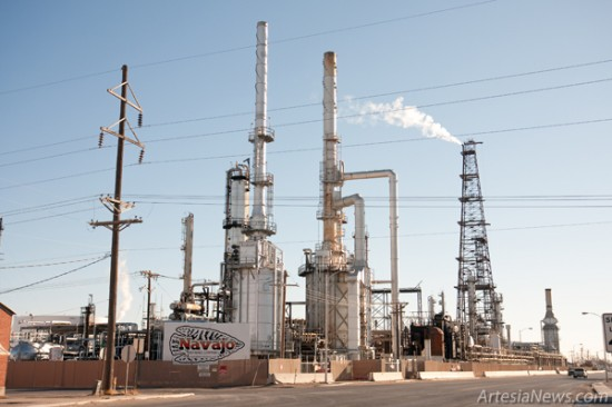 Navajo Refining in Artesia, Holly Corporation's largest refinery producing 100,000 barrels per day, does not figure to be affected by today's announcement of a merger between Holly and Frontier. (Tyler Green - Daily Press)