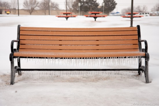 Icicles hang from a bench at Martin Luther King Jr. Park.