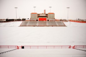 The field at Bulldog bowl is covered in snow.