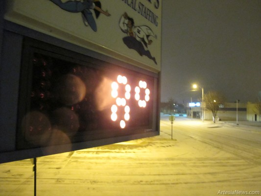 The sign at Rapid Temps displays a temperature of eight degrees Tuesday night.