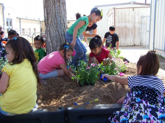"Artesia Head Start Room Five children recognized Earth Day today by planting their own flower garden on the school playground. With the help of Artesia Clean and Beautiful and volunteer parents, children spent the day learning about ways to improve their environment. ""For over 40 years, Earth Day has inspired and mobilized individuals and organizations worldwide to demonstrate their commitment to environmental protection and sustainability,"" Regina Bejarano, of Head Start, said. ""Many projects and ideas will be shared with Head Start families to help make a difference in the Artesia community."" (Ashley Trujillo – Daily Press)"