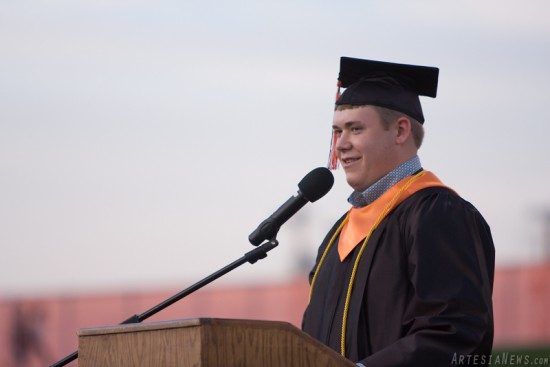"""Colton Campbell delivers his speech titled  """"The Run."""""""