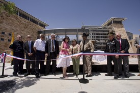 City of Artesia Community Development Director Tina Torres cuts a ribbon commemorating the opening of the Public Safety Complex on Thursday afternoon. The $18.6 million 73,500 square foot building brings multiple public entities under one roof.