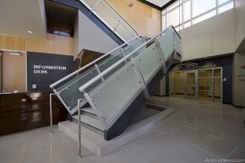 The stairway in the main entrance where police records, probation and parole and Municipal Court are located.