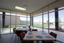 The Municipal Court break room features large windows looking across the complex.