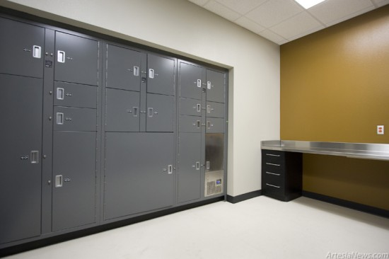 The bag and tag room is where officers bring thier evidence to be processed and stored. Evidence is placed in the lockers and retrieved from the other side.