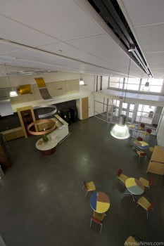 The main break and reception area seen from a walkway that connects police and sheriff administration offices.