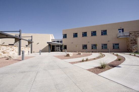 The employee entrance on the north side of the complex.