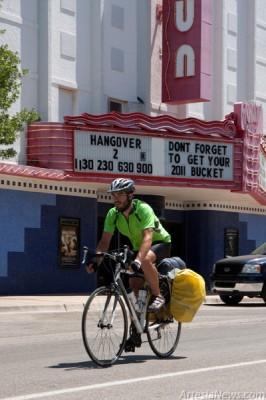 Russell York stopped in Artesia today  to take a rest from his cross country bike ride for charity which started 31 days ago. (Tyler Green - Daily Press)