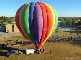 A hot air balloon prepares for lift off during last year's Balloons and Bluegrass Festival in Artesia. (Daily Press file photo)