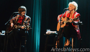 Pam Tillis, left, and Lorrie Morgan perform for an enthusiastic crowd Wednesday at the Artesia High School Auditorium as part of An Acoustic Evening with Pam Tillis and Lorrie Morgan, presented by the Artesia Arts Council.