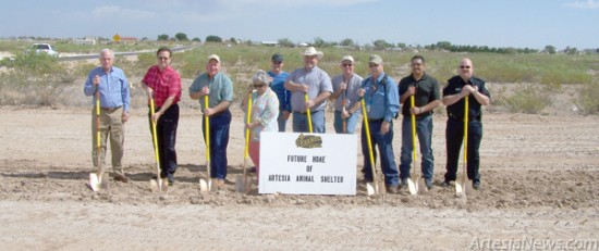 City of Artesia officials Mayor Pro Tem Terry Hill, Councilors Nora Sanchez, Jeff Youtsey, Kent Bratcher and Manuel Madrid Jr. and Police Chief Don Raley joined representatives from Durham &Associates Architects Inc. in breaking ground Monday at the site of Artesia's new animal shelter. Courtesy Photo