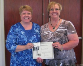 Regina Garner and Lorraine Drake received recognition for 30 years of membership to the local Desk &amp;Derrick Club. Courtesy photos
