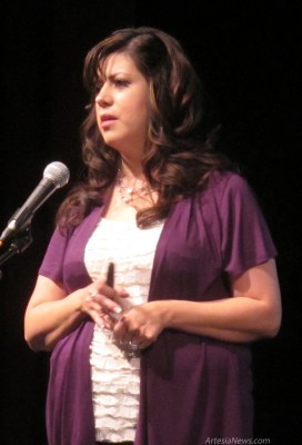 "Francesca Fernandez-Aragon speaks to audience members at the Ocotillo Performing Arts Center Wednesday morning during the seminar ""Why We Stay: Domestic Violence from a Victim's Perspective."" Fernandez-Aragon is an accredited instructor certified by the New Mexico Law Enforcement Academy and an adjunct instructor at the Albuquerque Police Academy, the New Mexico Law Enforcement Academy, the Southeastern Law Enforcement Academy and the New Mexico State Police Academy. She is also a survivor of severe emotional and physical abuse. The seminar was held as part of Domestic Violence Awareness Month. 