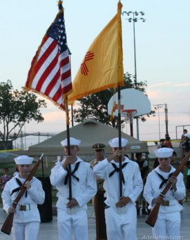 U.S. Navy Sea Cadets with the Pecos Valley Ironclad Battalion present the colors at Artesia's National Night Out in August. The Ironclad Battalion is a group that provides youth and young adults from ages 10-18 a chance to learn about life within the Navy and other branches of the military as well as the opportunity to better their community and themselves. Photo Courtesy Pecos Valley Ironclad Battalion
