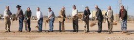 From left, CVE Board of Trustees members Darrell Atkins, Michael Bennett, Larry Benedict, Jason Ciempa, Chuck Wagner, Jack Case and Wesley Pilley, Jaynes Corporation CEO Don Powers, CVE General Manager Chuck Pinson, CVE Attorney A. J. Olsen, and Jaynes Project Supervisor Chris Butler gather this morning at the groundbreaking ceremony for CVE's new headquarters. Courtesy Photo