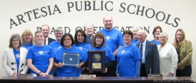 The Artesia Public Schools Board of Education presents Central Elementary School Principal Tammy Davis and her staff with a certificate of recognition for receiving the 2012 National Blue Ribbon Award Monday. Davis and Central teacher Patty Heidenreich recently returned from Washington, D.C., where they received a 2012 National Blue Ribbon plaque and flag to display at the school. Samantha Morin – Daily Press