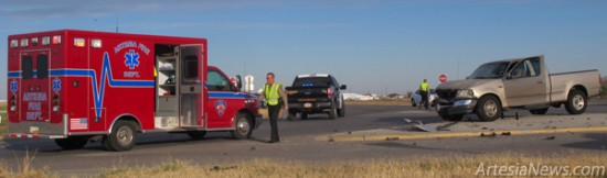 The Artesia Police Department, the Eddy County Sheriff's Office and EMTs with the Artesia Fire Department respond this morning to an accident with injuries at 13th Street and Highway 285. No further details were available as of press time. Rob Larson – Daily Press