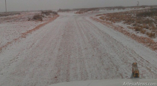 Roads in the oilpatch in Riverside were already coated with a dusting of snow this morning as flurries settled into the area. The storm is predicted to continue throughout the day and overnight, with as much as 4 to 6 inches possible. Courtesy Photo