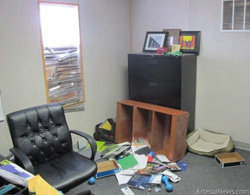 Pictured is the office where, according to Esperanza House's Sara Burnside, burglars entered Esperanza House late Thursday. Burnside said some electronic equipment, such as a laptop, was stolen but no victim files or information were reported missing as a result of the burglary. Rob Larson – Daily Press