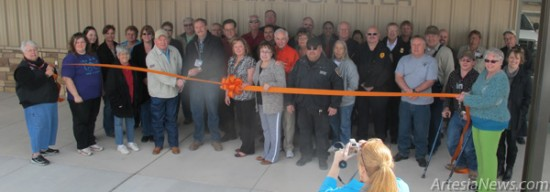 Members of Paws & Claws, the Artesia Trailblazers, the Artesia Chamber of Commerce and numerous public officials with the City of Artesia, Eddy County Commission and the State Legislature gather this morning for the official ribbon cutting ceremony to celebrate the completion of Artesia's new animal shelter. The 4,500-square-foot facility will begin housing stray cats and dogs on March 1, according to Infrastructure Director Byron Landfair. Rob Larson – Daily Press