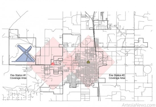 The above graphic outlines the Artesia Fire Departments coverage areas in relation to its two fire stations. Depending on whether Artesias insurance providers use the ISO grading schedule, the AFDs new ISO grade 2 rating may result in lower property insurance rates for those living within the coverage areas. Fire Marshal James Abner urges everyone to get in contact with their insurance providers to determine how much they may save on their insurance. Courtesy Photo