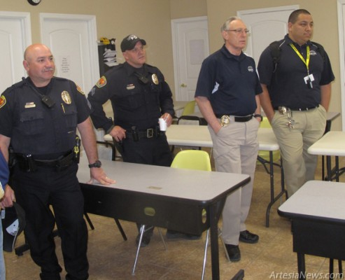 Members of the Lovington Police Department visit Grammy's House Tuesday for the domestic violence shelter's 20th anniversary open house. Grace Miller - Daily Press