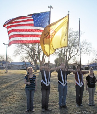 Members of the Pecos Valley Ironclad Battalion practice Monday in the Martin Luther King Jr. Recreation Complex. The battalion will present the colors to open Saturday's Child Safety Fair at Guadalupe Park. Grace Miller - Daily Press