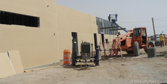Construction on the new Eddy County sub-office, which will house the Department of Motor Vehicles and County Sheriff's Office, is diligently making progress as walls are going up, steadily striving to meet the scheduled September deadline.  Grace Miller – Daily Press