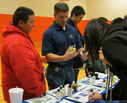 Representatives from Navajo Refining speak with Artesia (Park) Junior High freshmen March 26 at a Career Day held at the school. Navajo was the sole private employer in attendance at the event. Courtesy Photo