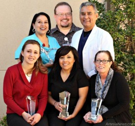 Standing from left, Marina Perez, RN, Benny Boyse, Dr. Jorge Abalos, seated from left, Kimberly Medley, Dedra Montoya and Cyndi Buck received special honors at Artesia General Hospital's recent Annual Employee Recognition Banquet. Perez, Boyse and Abalos received the Spirit of Excellence Award in recognition of exemplifying a spirit of optimism and excellence in customer service while serving AGH's patients, families and employees. Medley was presented with the Colleagues' Choice Award in recognition of the exceptional esteem in which she is held by her fellow employees. Montoya was awarded the Golden Stethoscope Award for her exceptional clinical performance as recognized by the AGH Medical Staff; and Buck was presented the People's Choice Award for the outstanding contribution she has made to AGH as recognized by patients and hospital management. Courtesy Photo