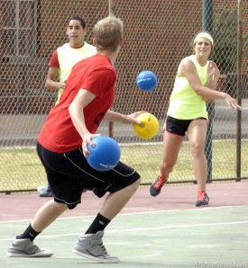 The tennis courts at Artesia High School were host Saturday to a melee of brightly-colored orbs and leaping bodies as teenagers gathered for a dodgeball tournament, a fun way to spend a weekend with the last day of school just two weeks away. rienne Green - Daily Press
