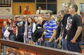 Members of the Artesia High School FFA Chapter are recognized at a recent assembly at Bulldog Pit following their return from the State Career Development Events competition in Las Cruces. See Page 7 for results and additional   photos. Courtesy Photo