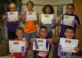 Yucca Elementary School students participated in the Battle of the Books April 27 at Western New Mexico University in Silver City, a statewide competition in which students read a minimum of 10 books from a list of 20. At the battle, students from throughout the state are divided into teams to participate in four rounds of questions about the books. Bandit participants were, kneeling from left, James Mann, Kyler Beltran, D'Andre Calvillo, standing from left, Presley Skinner, Jake Bruton, Sadi Butler and Syann Perez. Beltran and Perez were on the first-place team and received medals. Courtesy Photo