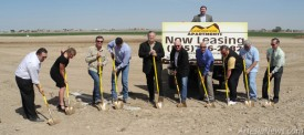 "From left, Artesia Economic Development Director Michael Bunt, Tayni Crockett of First American Bank, Crestline Project Manager Jeff Kaminski, Crestline Project Engineer Zachary Theus, Eddy County Commissioner Royce Pearson, Mayor Phillip Burch, Eddy County Commissioner Glenn Collier, Edward Jones Financial Advisor Jesse Brownfield, Artesia Trailblazer David Grousnick, Artesia City Councilor Jose Aguilar and First American Bank Corporate President Greg Marrs dig in this morning at the official groundbreaking ceremony of the Canyon Stone Apartments. According to the Rebecca Parmeter, district manager of Crestline, the first apartments are expected to be complete by October or November 2013. Burch spoke to the crowd beforehand, thanking Bunt, the Crestline Building Corporation and everyone involved ""in a project that the whole community will be very proud of."" Burch also said Crestline assured that city they will control the dust on the project grounds to the best of their ability. Rob Larson – Daily Press"