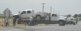 A pickup truck is pulled out of a ditch along the Lovington Highway Tuesday afternoon following a wreck between the pickup and a semi. According to an Eddy County sheriff's deputy on the scene, no injuries were reported. No further information was available as of press time. Rob Larson - Daily Press