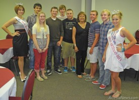 Governor Susana Martinez also stopped in to visit students involved with Ladies Elan and New Knights (LENK) and local pageant winners Friday. She is pictured above with, from left, Miss Route 66 Alexis Fuentes, Trey Yates, Ellie Ash, Kyle Parreira, Lakota Gothard, Tyler Peterson, Brock Bowman, Shane Haas and Miss Artesia Teen Paxton Parreira.  Grace Miller - Daily Press