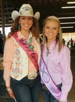 Left to Right: 2013 New Mexico State Fair QueenStephanie Bailey poses with 2013 Eddy County Fair Queen Storme Cartwright on Saturday morning at the Junior Livestock Auction.  Liana Swarengin-The Artesia Daily Press