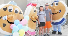 """Hungry Artesians greeted by pancake mascots  From left, Charlie Chip, Susie Strawberry and Bonnie Blueberry pose with happy customers Lindsey and Chris Wiles outside Artesia's new IHOP location this morning. """"The experience, the food and the service were good... we will be back!""""said the Wiles. The restaurant opened its doors today at 101 S. First St. with customers already waiting at the door. A total of 200 hungry patrons had visited the location by lunchtime. During its probationary period, the restaurant will be open from 5 a.m. - 11 p.m. daily. It will transition to a 24-hour location beginning Aug. 26.  Grace Miller - Daily Press"""
