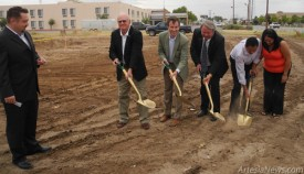 From left Mayor Phillip Burch, USDA Rural Development State Director Terry Brunner, Mike Hoyle, executive vice president of Western Commerce Bank, and owners Henry and Fay Bhakta break ground Tuesday afternoon on the new La Quinta Inn and Suites, located at 2207 W. Main St. At far left is Economic Development Director Michael Bunt. Grace Miller- Daily Press