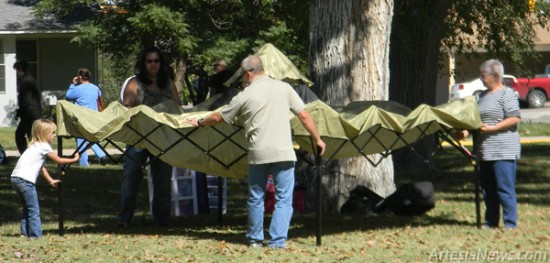 Vendors begin setting up tents and displays this afternoon at Central Park in preparation for Saturday's annual Art in the Park festival. This year's event will run from 9 a.m. - 5 p.m. and will include 105 vendors offering a wide variety of handcrafted items for sale. The Artesia Public Schools band program will also hold its annual cake walk in conjunction with Art in the Park.  Latisha Romine - Daily Press