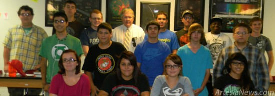 Artesia High School chemistry teacher John Syfert poses for a photo with members of the newly formed MESA program. Grace Miller - Daily Press