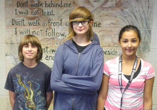 Zia Intermediate School participated recently in a Red Ribbon Week Poetry Contest, with first place going to, from left, Michael Sherwood, second place to Elora Gibson, and third place to Aliyah Valencia. Honorable Mention went to Sadie Ramirez, Riley Wortley, Gracelyn Casey, Lexi Carlo and Cheyanne Parson. The students' poems will be on display in the front hallway of the   school.  Grace Miller – Daily Press