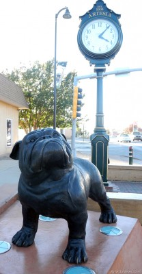 A bronze statue of a bulldog now greets travelers heading along Main Street from the Seventh Street intersection near the town clock. The bulldog is the newest addition to the collection of statues downtown and was commissioned by Ralph Nix, owner of adjacent Ralph Nix Exploration LLC. Brienne Green - Daily Press