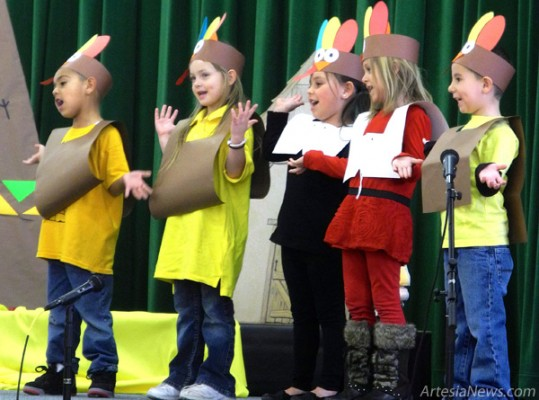 Students from Grand Heights Early Childhood Center performed a Thanksgiving program Tuesday afternoon for their families. Mrs. Orosco's and Ms. Kenzie's Cheetah class and Mrs. Vega's Pony class were adorned as pilgrims, Native Americans, turkeys and ears of corn. The classes sang songs about the pilgrims' journey on the Mayflower, turkeys and what they are thankful for. The kindergarteners even performed a Thanksgiving skit that had the audience laughing. The teachers had help from room mother Gracie Bustamante and room grandfather Vicente Bustamante, who created and helped set up the props and volunteered their time. Liana Swarengin - Daily Press