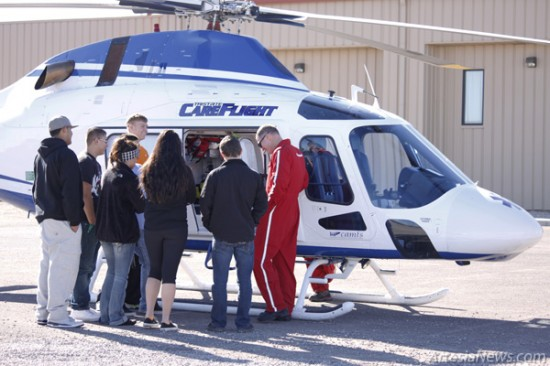 A group of students from Artesia High School's EMS class view the helicopter up close Tuesday at West Main Baptist Church. The class is currently studying the duties of first responders in emergency situations. Brandon Messick - Daily Press