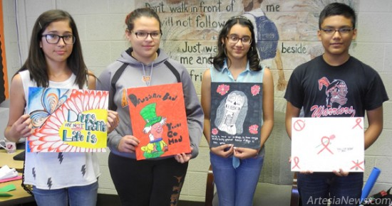 The Artesia Drug & Crime Coalition and Zia Intermediate School organized students last month to create posters for the annual Red Ribbon Week anti-drug awareness campaign. Winners were, from left, Rylee Peak, first place, Tiffany Romero, second place, Alma Mijares, third place, and Fernando Martinez, fourth place. Honorable mention went to Baylor Gray, Mckayla Liles, Alexia Fernandez and Maria Carrillo.   Grace Miller – Daily Press