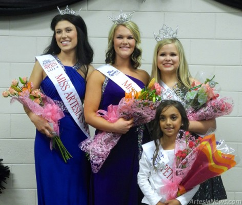 From left, Miss Artesia Pageant winners Macy Gutierrez, Miss Artesia Outstanding Teen, Madison Casey, Miss Artesia, Jordyn Woodburn, Little Miss Artesia, and Karissa Chavez, Petite Miss Artesia, proudly pose Sunday with their crowns and sashes. Liana Swarengin - Daily Press