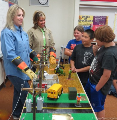 Grace Miller – Daily Press  Raelynn Bean, left, and Leah Boone of Central Valley Electric Cooperative conduct safety lessons using the new Safety Board in Landon Ivy's fifth-grade class at Central Elementary School.